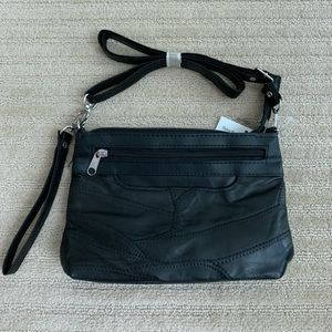 Handbags - Patchwork vegan black leather purse
